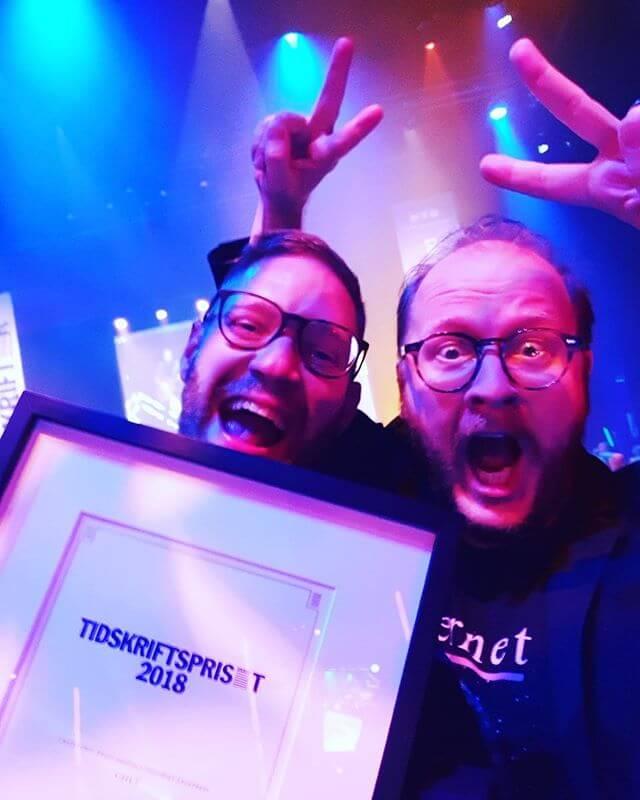 """Calle Fleur och Joel Bergqvist — glada över tidsskriftspriset """"Årets digitala tidskrift fackpress"""""""